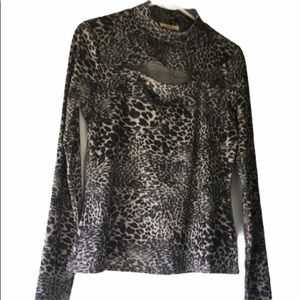 animal print long sleeved top size L
